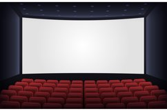 Empty cinema theatre. Film presentation scene with red chair Product Image 1