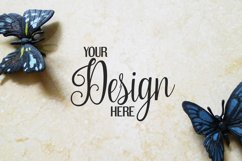 Butterfly on marble background photo   Flat mock up bundle Product Image 6