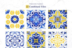 Portuguese Azulejos. Watercolor Patterns and Tiles. Product Image 6