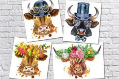 Cute watercolor bulls Product Image 4