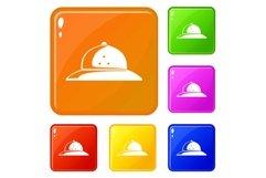 Cork helmet icons set vector color Product Image 1