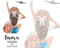 Fashion Travel Girl Clipart - Cute Backpack Illustration Product Image 2