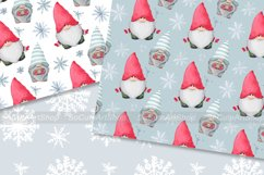 Watercolor gnome christmas seamless patterns Product Image 3