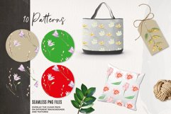 Spring Foliage Florals Pretty Watercolor Seamless Patterns Product Image 3