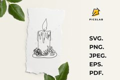Candle - Old candle - Wax candle - Candle with flowers Product Image 3
