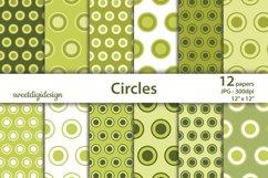 Green circles digital paper, polka dots scrapbook paper Product Image 1