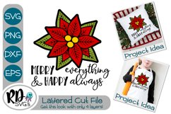 Merry Everything Poinsettia - A Christmas Layered Cricut SVG Product Image 1
