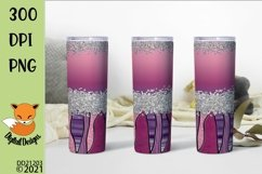Pink Stained Glass Effect Skinny Tumbler Sublimation Product Image 1