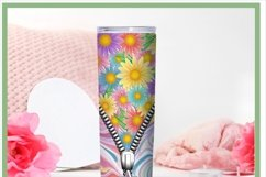 Floral Tie Dye Skinny Zipper Tumbler Sublimation PNG Product Image 2