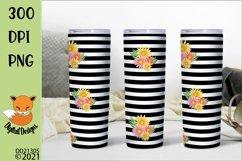 Black Striped Floral Skinny Tumbler Sublimation PNG Product Image 1