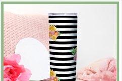 Black Striped Floral Skinny Tumbler Sublimation PNG Product Image 2