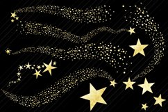 Gold Foil Shooting Stars and Swirls Clip Art Product Image 2