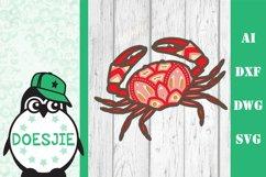 Layered Crab SVG multi layer mandala sea animal nautical 3d Product Image 2