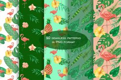 Tropical set of watercolor elements with flamingo Product Image 2