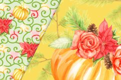 Pumpkins and flowers digital paper pack Product Image 5