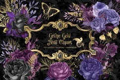 Gothic Gold Floral Clipart Product Image 1