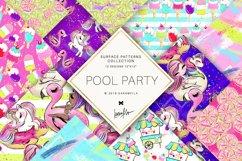 Summer Patterns, Unicorn Flamingo Digital Paper Product Image 1