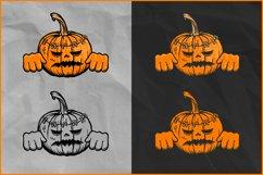 Pumpkin Zombie SVG, Halloween SVG, Zombie Jack O'Lantern Product Image 2