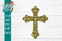 Easter Cross with Flourishes SVG DXF PNG PDF Cut file Product Image 1