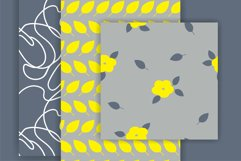 White and Yellow Simple Floral Vector Seamless Patterns Product Image 2