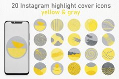 20 Abstract Instagram Story Highlight Icons - Yellow & Gray Product Image 1