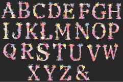 Watercolor floral alphabets, pink floral letters Product Image 2