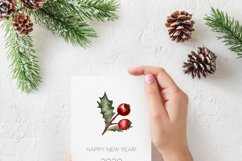 Watercolor Christmas greenery clipart, Winter collection Product Image 3