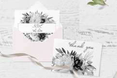 Watercolor White Dark Floral Clipart For Wedding Stationery Product Image 3