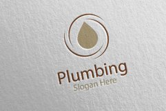 Plumbing Logo with Water and Fix Home Concept 41 Product Image 2