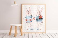 Cute Rabbit sailor. Kids watercolor sea clipart. Baby Bunny Product Image 9