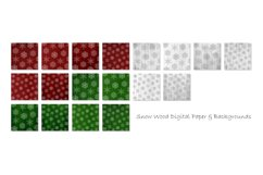 Red & Green Christmas Snowflake Digital Paper Pack Product Image 2