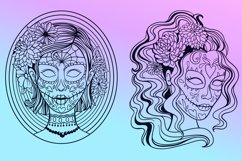 Sugar Skull SVG Collection   Calavera Ladies SVG Product Image 4