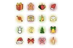 Christmas comics icons set Product Image 1