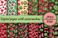 Watercolor watermelons, clipart for stickers and paper Product Image 3
