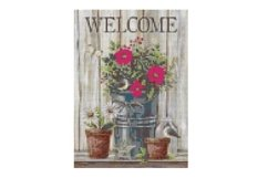 Primitive Welcome Cross Stitch Pattern Product Image 1