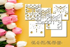 Papercut 3D Dragonfly Flowers Layered Design Product Image 2