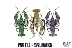 Mardi Gras Sublimation Design, Glitter Crawfish Product Image 1