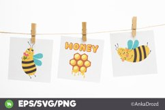 Set Baby Yellow Bee clipart. Cute Honey Bee SVG clip art Product Image 4