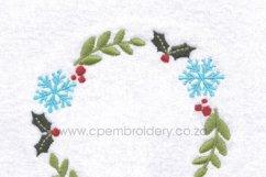Christmas Snowflake and Mistletoe Wreath Embroidery Design Product Image 2