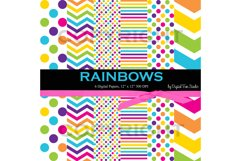 Rainbow Papers, 6 Digital Rainbow Papers in Dots, Stripes, and Chevron, 12 Product Image 1