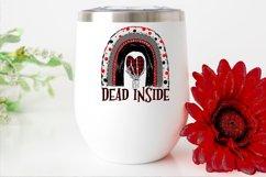 Dead inside rainbow|Skeleton Hand & Plaid Heart PNG Design Product Image 2