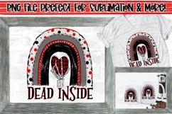 Dead inside rainbow|Skeleton Hand & Plaid Heart PNG Design Product Image 1