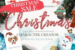 Christmas Animal Creator.Watercolor Dogs & Cats Product Image 1