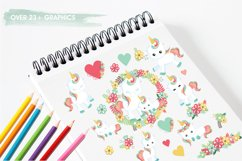 Floral unicorn graphics and illustrations Product Image 3
