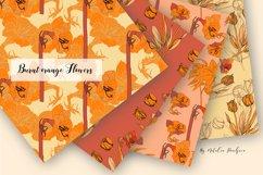 Digital Paper Burnt Orange Flowers Product Image 2