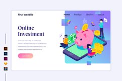 Isometric Online Investment Landing page illustration Product Image 1