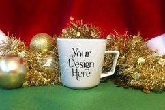Christmas Mug Mockup, A White Cup Mock-Up for Xmas PSD & JPG Product Image 4