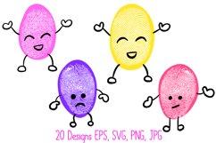 Funny Fingerprint Print Bean Cartoon Character Illustrations Product Image 2