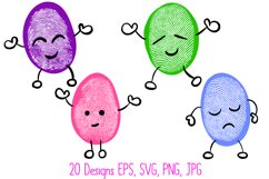 Funny Fingerprint Print Bean Cartoon Character Illustrations Product Image 5