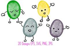 Funny Fingerprint Print Bean Cartoon Character Illustrations Product Image 4
